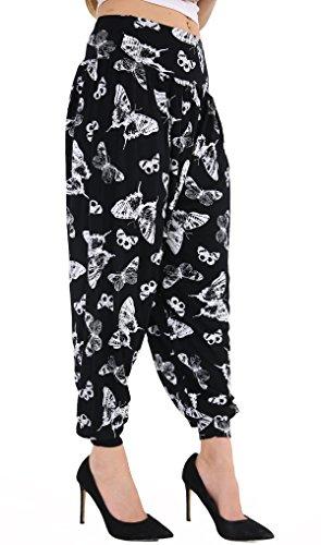Lunghezza Pantaloni Taglie Piena Donna Butterrfly Black Elasticizzato Da 26 Harem Forti Formati Casual 12 qptXwxn