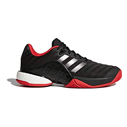 adidas Barricade 2018 Boost Black/Silver Court Shoes 9.5