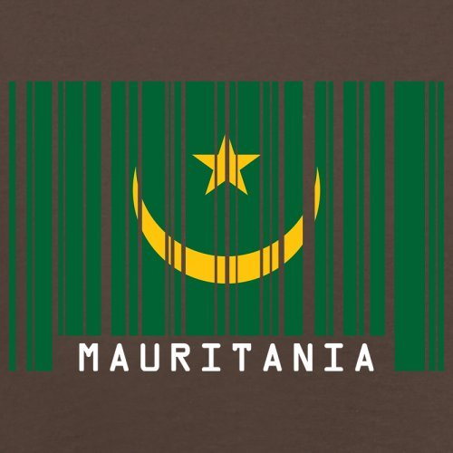 Mauritania / Mauretanien Barcode Flagge - Herren T-Shirt - Schokobraun - XL