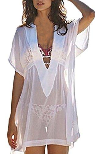 Beachwear Damen Kurzarm V-Ausschnitt Durchsichtig Sommer Strand Bikini Cover Up Kurz Strandkleid izU9Tpfrvy