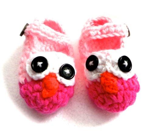BB.60 - Chaussons Chaussures Bébé Enfant 0-3 Mois Pointure 15/16 - Hibou Rose - Crochet Fait Main - Cadeaux Photos de Naissance