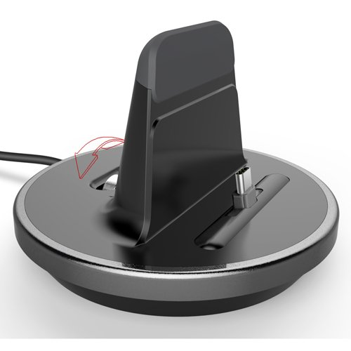 RND Type-C (USB-C to USB-A) Dock for Nexus (5X, 6P), Google (Pixel, Pixel XL), LG, OnePlus, Samsung (S8, S8 Plus, Note 8) (Works with Rugged/Dual Layer/Slim Cases/and no Cases) (Black w/Silver Trim)
