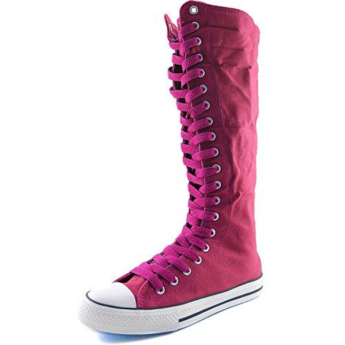 Dailyshoes Toile Femme Mi-mollet Bottes Hautes Casual Sneaker Punk Plat, Bottes Fuchsia Rose Vif, Dentelle Rose Vif