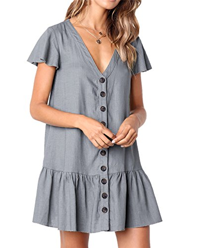 Lady Mini Button (Huiyuzhi Womens Short Sleeve V Neck Button Down Solid Color Shirt Dresses with Ruffle Hem (XL, Grey))