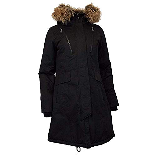 1 Madison Expedition Heritage Collection Women's Midweight Parka with Faux Fur Hood, Black, Large