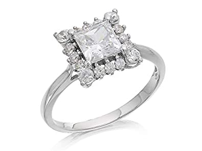 96451c7b3 F.Hinds Women Jewellery 9Ct White Gold Cubic Zirconia Square Cluster Ring:  Amazon.co.uk: Jewellery