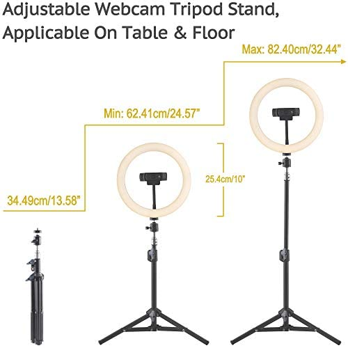 OXENDURE Webcam Tripod Stand with Ring Light for Video Conferencing/Live Streaming, for Logitech Webcam C925e C922x C922 C930e C930 C920 C615, MovePro Hero 8/7/6/5, Arlo Ultra/Pro/Pro 2/Pro 3/Brio 4K