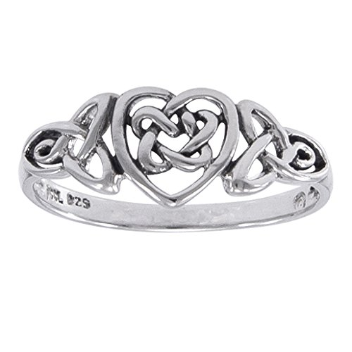 Sterling Silver Celtic Trinity Knot Heart Ring Size 9(Sizes 3,4,5,6,7,8,9,10,11,12,13,14,15,16)
