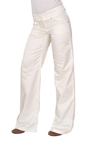 Versace Pantalón Mujer 27 Crema Algodón Italian Fit Corte de Bota