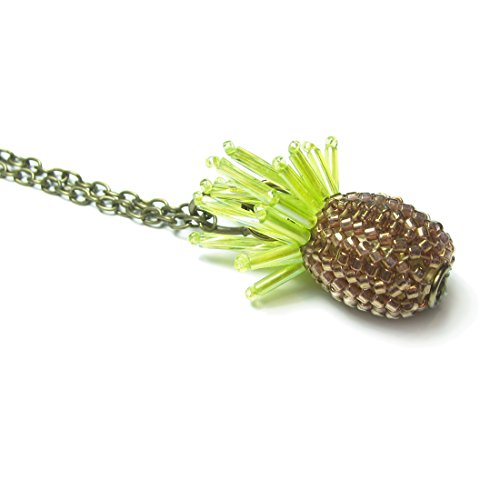 Heart in Hawaii Tiny Beaded Pineapple Pendant with 32-inch Cable Chain - Bronze