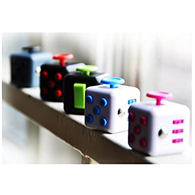 Mini 6 Sides Fidget Cube Toys Relieves Stress and Anxiety Attention Toy for Work,Class,Home,Blue&White