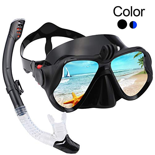 KKlite Snorkel Scuba Diving Mask - Dry Snorkeling Dive Mask with 180° Panoramic Anti Fogging Tempered Goggles, Adjustable Strap, Carrying Bag for Teens, Adult, Beginner Swimmers and Pro Divers(Black)