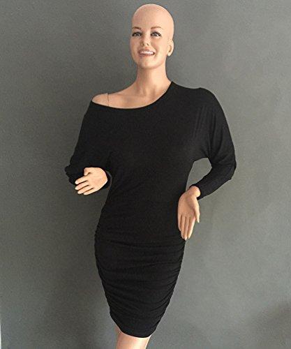 WanYang Ocasional Nuevo Estilo De Hip-Paquete De Cuello Alto De Manga Larga Delgado Atractivo De Las Mujeres Vestido Delgado Sin Tirantes Negro