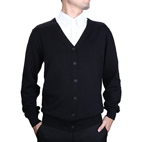 Finrosy Men's Cardigan Shawl Collar Cotton Lightweight Sweater(3XL,Black)