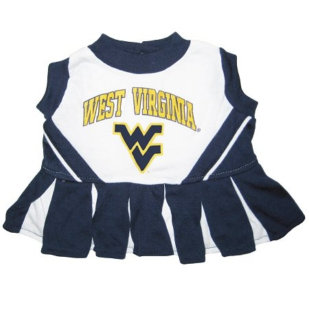 West Virginia University Dog Cheer Leading Dress & Leash Set Size MD