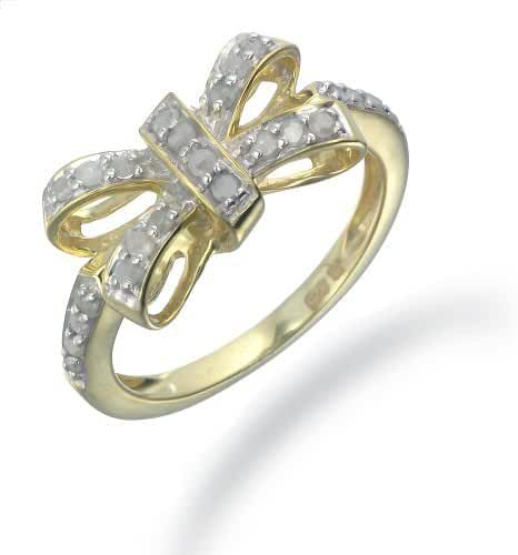1/4 CT Diamond Knot Ring Yellow Gold Plated .925 Sterling Silver Size 7