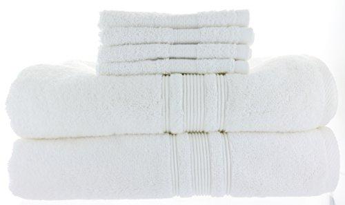2 Charisma Bath Towels 30in x 58in + Bonus 4 Grandeur Wash Cloths, White, 100% Hygro Cotton Loops & Extra Absorbent