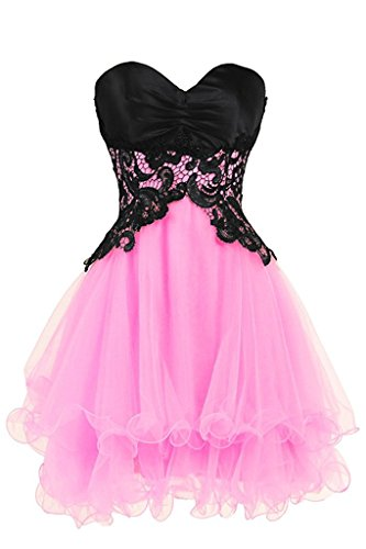 Ladies-Sexy-Lace-Sweetheart-Short-Tulle-Prom-Dresses-Homecoming-Party-Gowns-Pink-US14