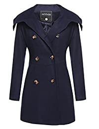 ACEVOG Women's Double-Breasted Fold-Collar Wool-Blend Pea Coat Wool Jacket