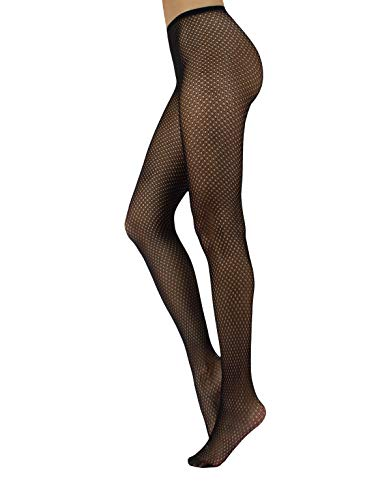 Fishnet Pantyhose with Geometric Patterns | Micro Net Patterned Tights | S/M, L/XL | Black | Made in Italy (S/M, Black)