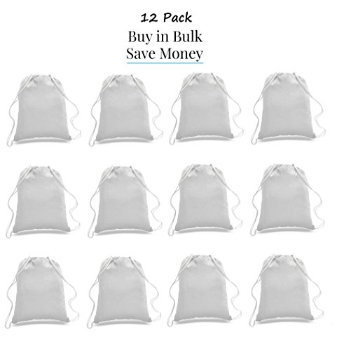 (Great Deal! ( 12 Pack ) 1 DOZEN Budget Friendly Sport Drawstring Backpack %100 Cotton Bags for Sport,Gym or Promotional Plain Backpacks (WHITE))