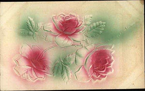 Raised Image - Three Red Roses Flowers Original Vintage Postcard