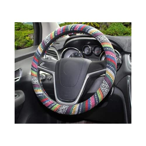 Lovely SaveStore Flax National Style Steering Wheel Cover Universal Fit For 38cm 15in Car