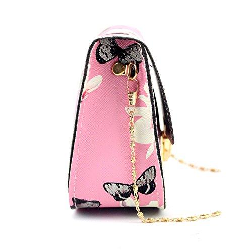 Ragazza A Rosa Spalla Donna Mano Ecopelle Borsa In Piccole Di Stampa Farfalle Tracolla Sumtter Borsetta Sacchetta T8qpaCgn