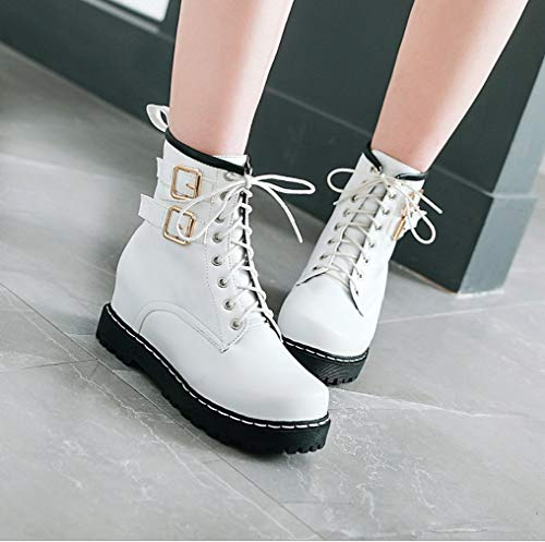 centimetri le Lady aumentante bianche delle 6 Boots Stivali donne di Inverno Grip Sole Bassa Autunno Media Zeppe Army altezza casuali caviglia scarpe Biker Liangxie Hidden Fighting per gxzHqH
