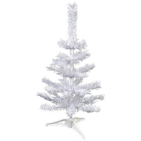 Omni 2 Feet Snow White Artificial Pine Christmas Tree with Plastic Tree Stand Unlit (White Ft Tree Christmas 1)