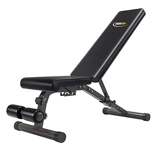 FEIERDUN Adjustable Workout Bench - Utility Weight Benches Foldable Versatility Incline/Decline Bench for Full Body Workout (Black.)