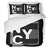 SanChic Duvet Cover Set Bronx Tee Typo College NYC Vintage Athletic Badge Decorative Bedding Set with Pillow Sham Twin Size