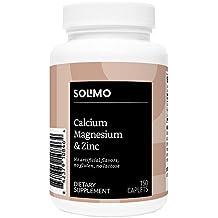 Amazon Brand - Solimo Calcium, Magnesium & Zinc, 150 Caplets, Calcium 1000mg, Magnesium 400mg, Zinc 15mg, One Month Supply