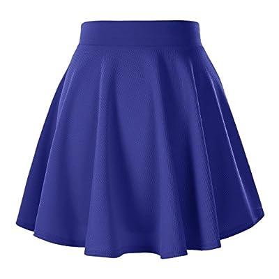 Urban CoCo Women's Basic Solid Pleated Mini Skate Skirt Versatile Stretchy