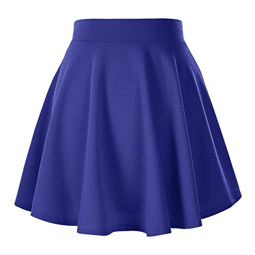 Urban CoCo Women's Basic Versatile Stretchy Flared Casual Mini Skater Skirt (Medium, Royal Blue)