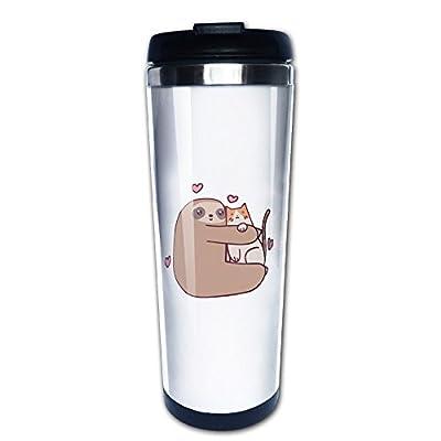 Sloth Loves Cat Travel Coffee Mug Water Bottle -