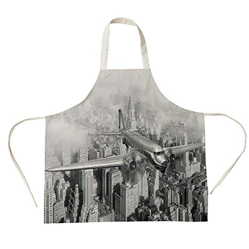 3D Printed Cotton Linen Big Pocket Apron,Vintage,Nostalgic Dated Plane Flying Over Skyscrapers in New York City Urban Life,Black and White,for Cooking Baking Gardening (Best Black And White Cookies In New York City)