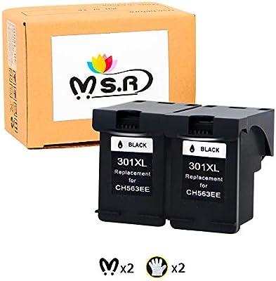 MSR - Cartuchos de tinta remanufacturados HP 301XL 301 XL para impresoras HP Deskjet 2540 1510 3050 3050A 1050A 3055A HP Envy 4500 5530 5532 HP Officejet 4630 2620 2622 (2 negros): Amazon.es: Oficina y papelería