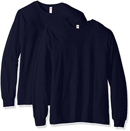 - Fruit of the Loom Men's Long Sleeve T-Shirt (2 Pack), Jnavy, Large