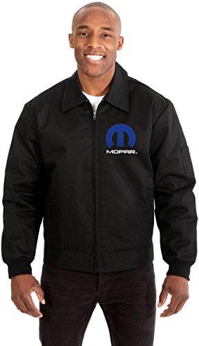 JH DESIGN GROUP Mopar Men's Mechanics Jacket With Front & Back Emblems Available In Black or Gray (Black, Large)