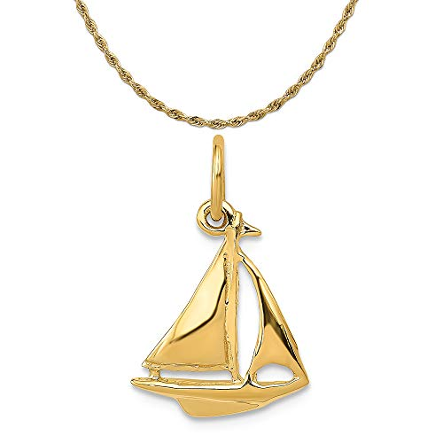 Mireval 14k Yellow Gold Sailboat Charm on a 14K Yellow Gold Rope Chain Necklace, 18