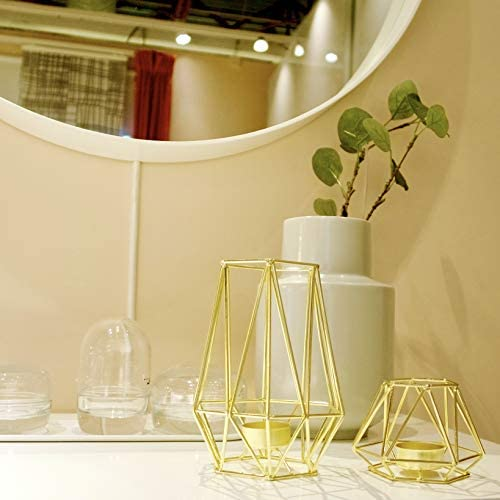 HÖKI+ Set of 2 Gold Geometric Metal Tealight Candle Holders for Living Room & Bathroom Decorations - Centerpieces for Wedding & Dining Room, Coffee Side Tables Decor - Holiday & Birthday Gifts 2