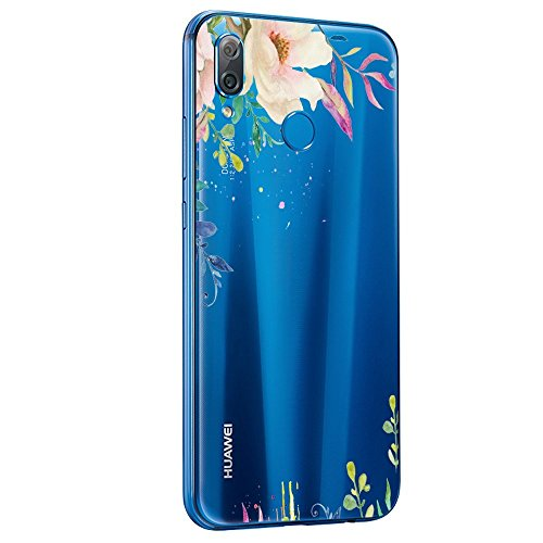 (for Huawei P20 Lite Case Transparent Silicone Protective Cover Soft Case Cover for Huawei P20 Lite/Nova 3e Flower (2, Huawei P20 Lite/Nova 3e Cover))