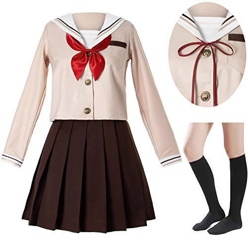 Japanese School Girls Sailor JK Uniform Brown Pleated Skirt Anime Cosplay Costumes with Socks Set(SSF28) S ()