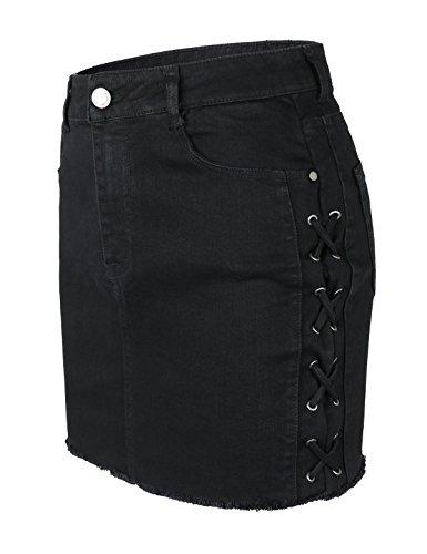 makeitmint Women's Side Lace up Detail Raw Frayed Hem Denim Jean Mini Skirt YBSK0014-BLACK-SML (Mini Skirt Frayed)