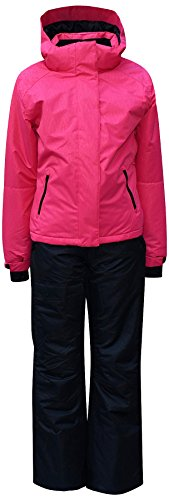 Pulse Big Girls Youth 2 Piece Snowsuit Ski Jacket Snow Pants Embossed (Large (14/16), Juicy Melon/Black) by Pulse
