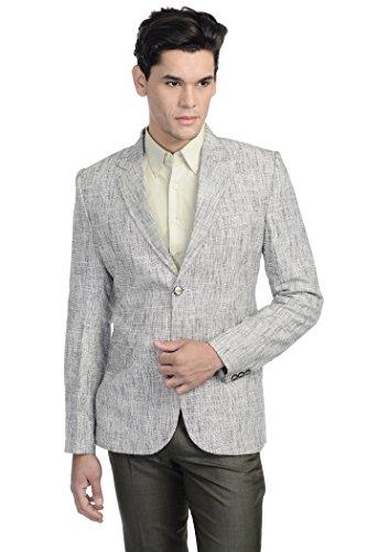 WINTAGE Men's Linen Two Button Notch Lapel Blazer Coat - Silver,42 Regular