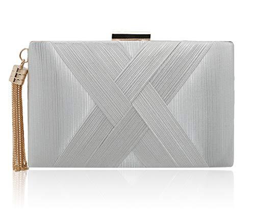 (Elegant Silk Satin Evening Clutch Purse Handbags for Women Vandysi Tassel Pendant Clutch Purses for Wedding Party Silver)