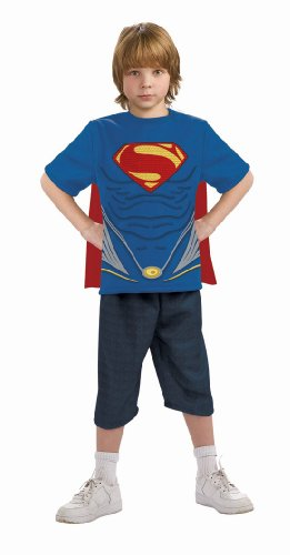 Man of Steel Superman Costume Top with Cape Children's Costume, Small