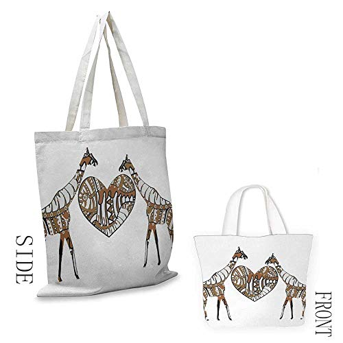 Handbag or crossbody messenger bag African Soul Mate Giraffes with A Giant Heart Valentines Love in Nature Bohemian Print Washable tote 16.5